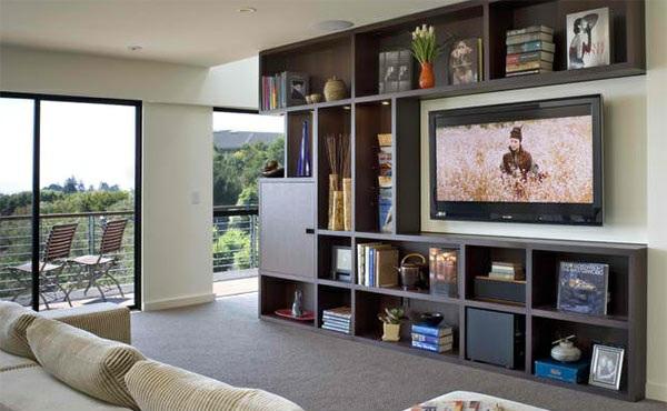 Tv wohnwand im modernen wohnzimmer 15 inspirierende beispiele - Wandhalterung flachbildfernseher ...