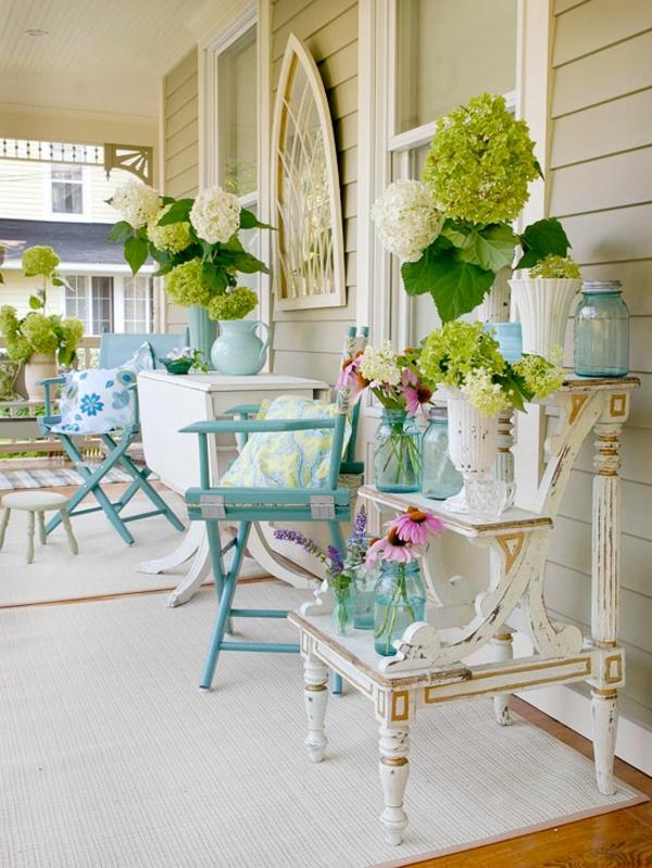 veranda retro vintage holz möbel set moderne Terrassengestaltung Ideen