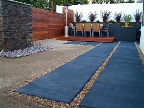 vorgartengestaltung modern exterior designideen kieselsteine pflanzen