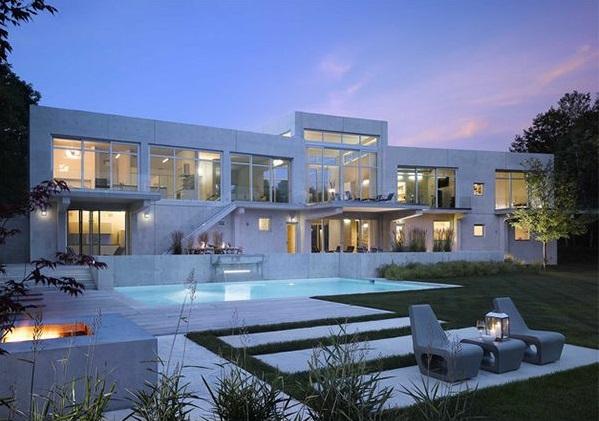 Vorgartengestaltung modern exterior designideen pool rasenfläche