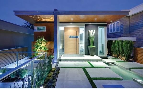 vorgartengestaltung modern exterior patio betonboden rasen
