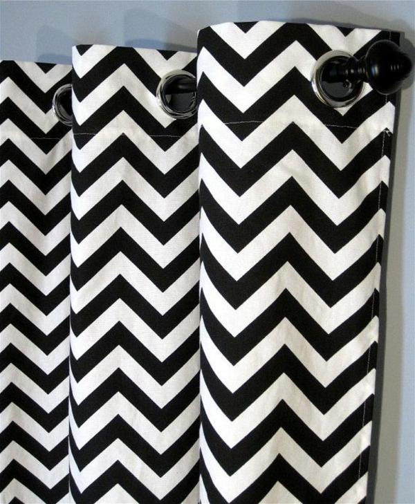 vorhang und gardinendekoration chevron schwarz weiß