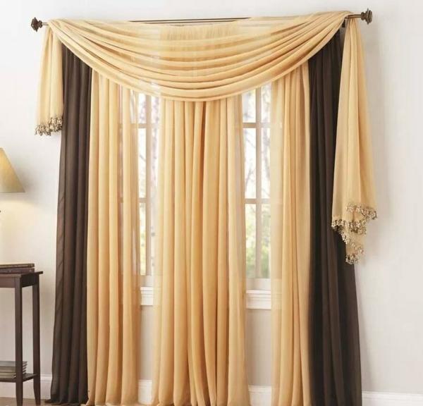 vorhang und gardinendekoration beispiele gelb braun