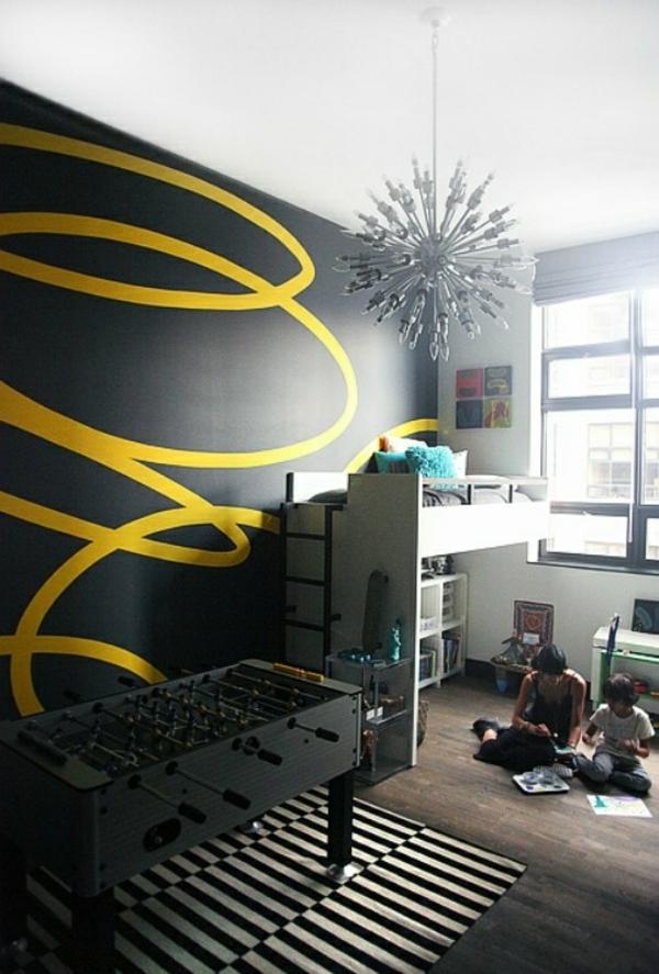 wände streichen spiral schwarz gelb