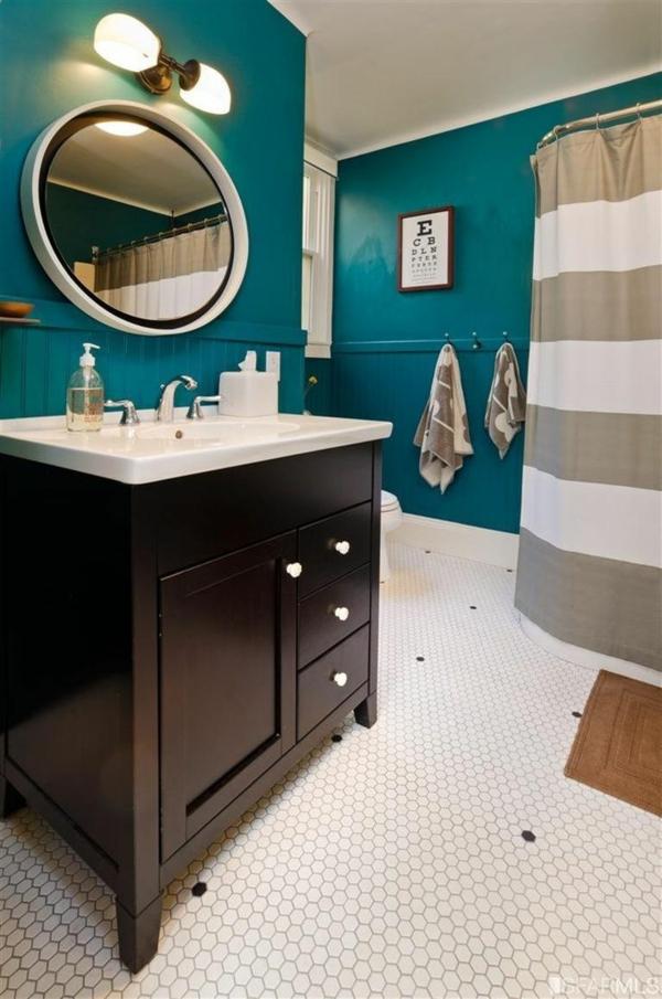 wandfarbe lagune wandgestaltung badezimmer duschkabine gardinen
