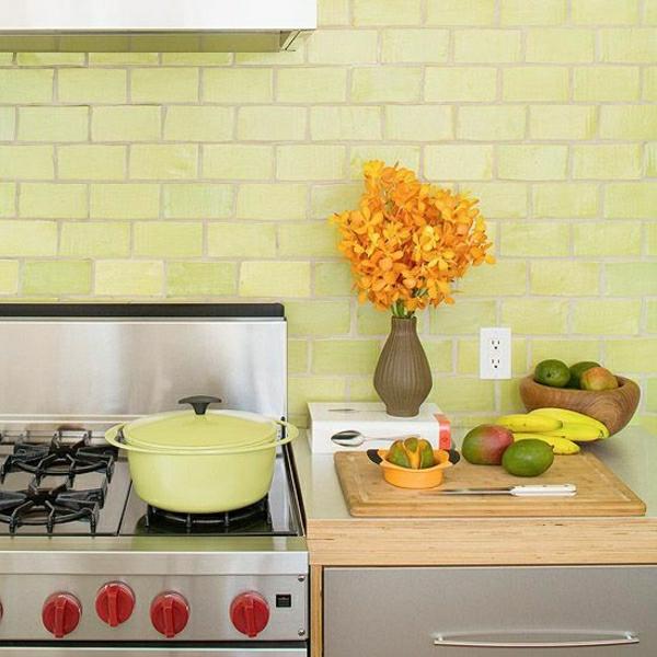 wandfliesen küche grün hochglanz