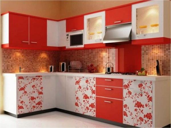 wandfliesen für die küche - - tolle küchenausstattung ideen - Hochglanz Küche Rot