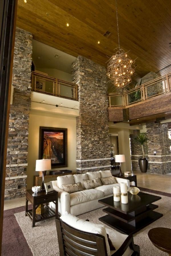 Natursteinwand im Wohnzimmer naturstein ideen kamin zuhause ideen