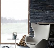 Natursteinwand im Wohnzimmer – die Natur zu Hause empfangen
