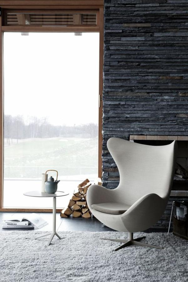 ideen kamin zuhause wandgestaltung naturstein modern
