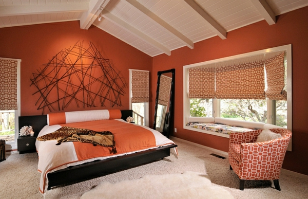 Wandgestaltung Schlafzimmer Orange ~ Ideen Für Die