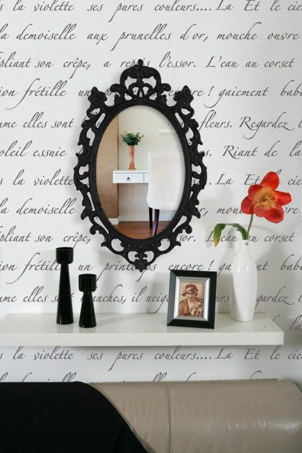 wandspiegel schwarz dekorative elemente