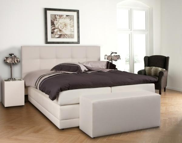 was ist ein boxspringbett doppelbett in weiß mit kopfteil gepolstert