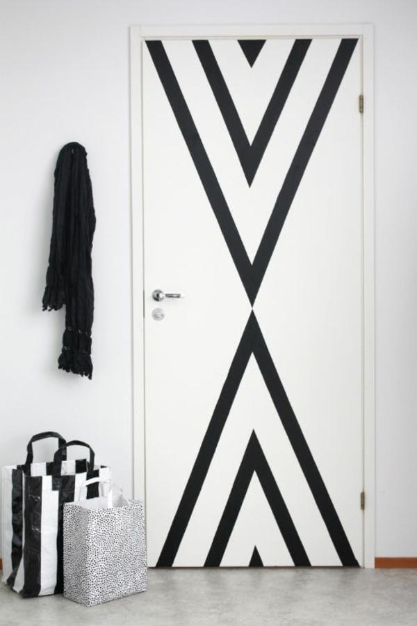 weiße innentüren design schwarze akzente