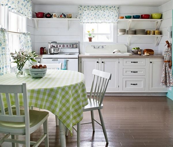 weiße küche landhaus einrichtung offene regale tisch