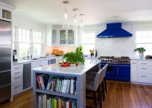 weiße küche minimalistisch einrichten skandinavisch farbakzente blau