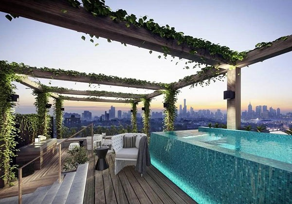 dachterrasse gestalten eine sehenswerte fotostrecke von 15 dachpools. Black Bedroom Furniture Sets. Home Design Ideas