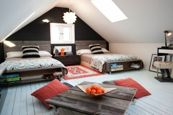 Einrichtungsideen jugendzimmer mit dachschräge  Jugendzimmer einrichten - kreative Interior Entscheidungen und Tipps