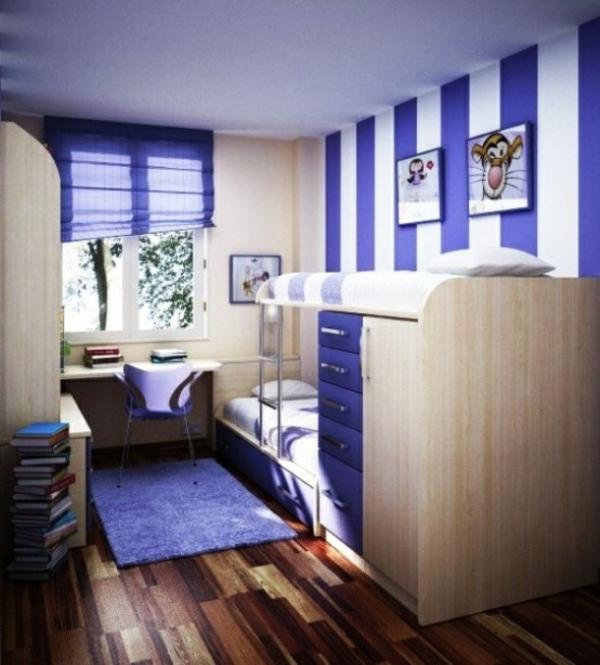 wohnideen jugendzimmer einrichten etagenbett wandgestaltung teppich