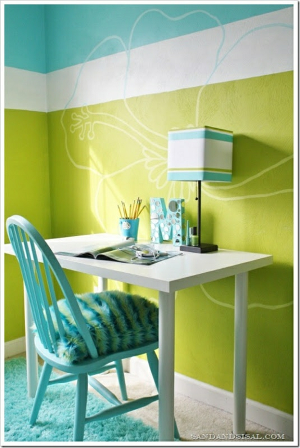 wohnideen jugendzimmer einrichten grüne töne schreibtisch