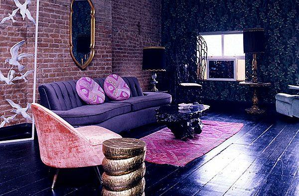 wohnideen lila und dunkelblau wohnzimmer sofa sessel tisch