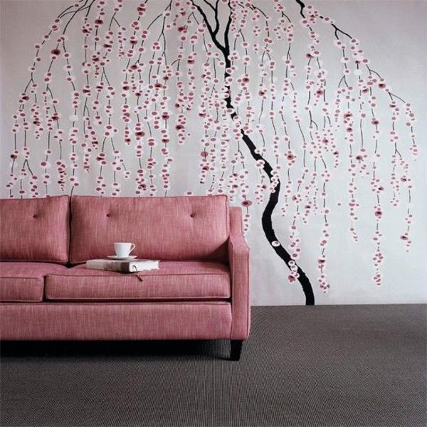 wohnideen wohnzimmertapete baummuster sofa