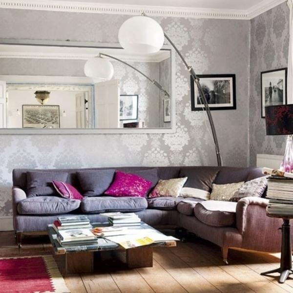 wohnideen wohnzimmertapete sofa tisch teppich