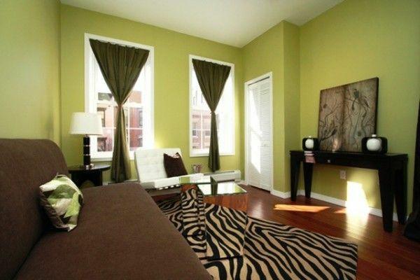 wohnideen zeitgenössisch wohnzimmer farbgestaltung in grün