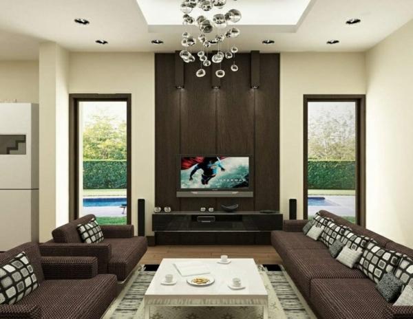 wohnideen zeitgenössisch wohnzimmer farbideen braun tv schrank