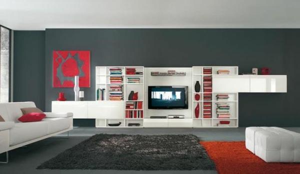 wohnideen zeitgenössisch wohnzimmer farbideen grau teppich