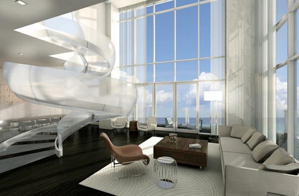 wohnzimmer design ideen dramatisch spiraltreppe aus glas sofa