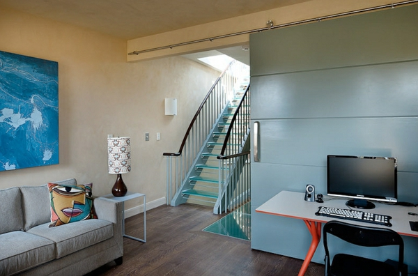 wohnzimmer design ideen gerade treppe aus glas sofa arbeitstisch