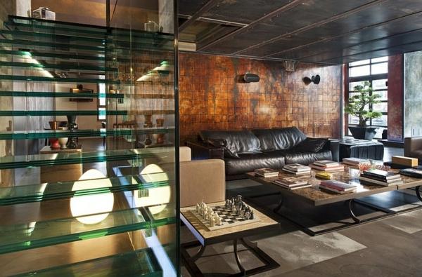 wohnzimmer design ideen industrieller stil gerade treppe glas leder möbel