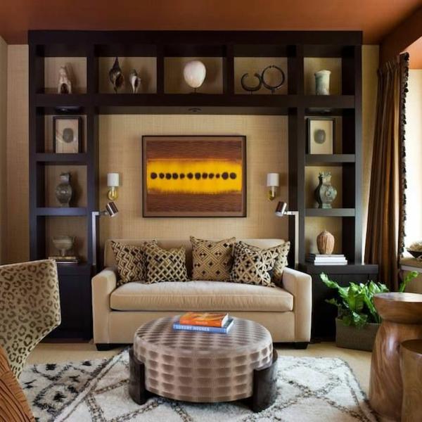 wohnzimmer design ideen modern wandschrank sofa rundtisch