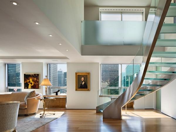wohnzimmer design ideen treppe spirale glas sofa