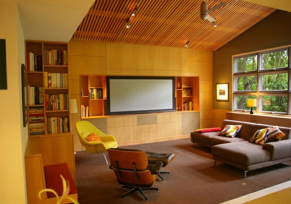 wohnzimmer designs mit gewölbedecken holz wandverkleidung