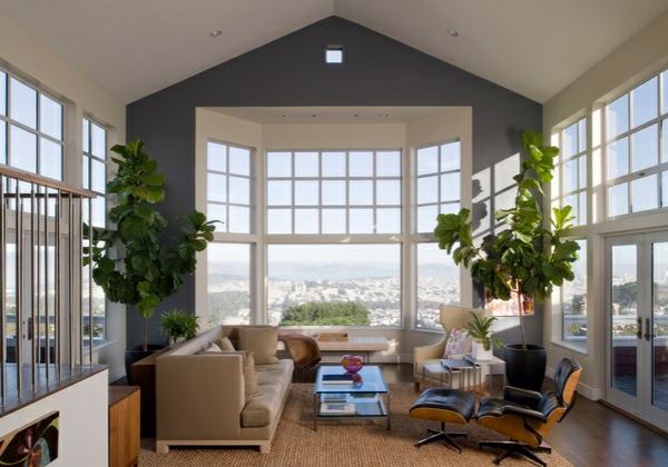 wohnzimmer designs mit gewölbedecken weiß wandfarbe grau große fensterfläche