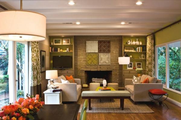 wohnzimmer einrichtungsideen wandfarbe brauntöne