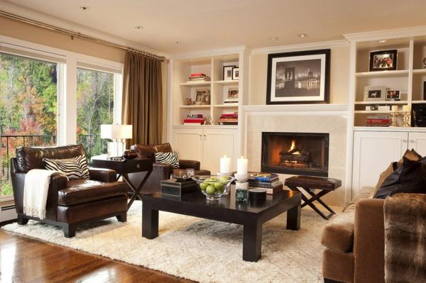 wohnzimmer einrichtungsideen wandfarbe brauntöne hell kamin