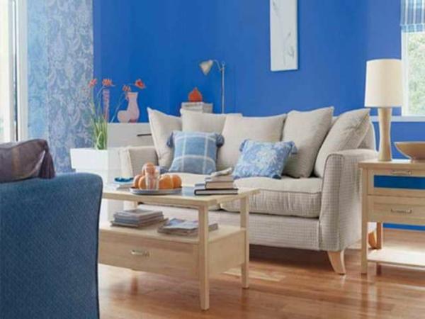 wohnzimmer farbgestaltung blaue inspiration sofa