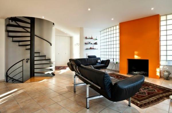 Wohnzimmer Farbgestaltung Orange Schwarze Kombination