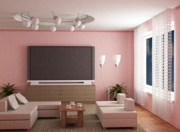 wohnzimmer farbgestaltung rosa sitzecke wandfarbe - Wandfarbe Creme Rot