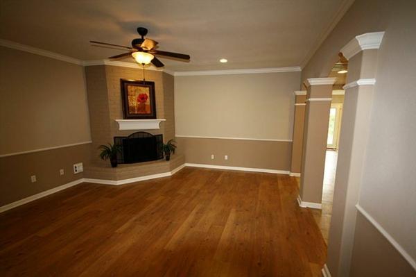 wohnzimmer farbideen übergehende nuancen holzboden