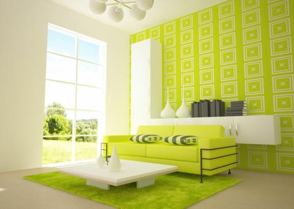 wohnzimmer farbideen modern grün weiß