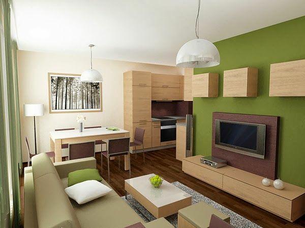 wohnzimmer farbideen modern grüne akzentwand holzmöbel