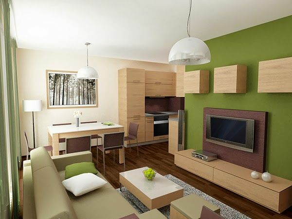 wohnzimmer farbideen modern grne akzentwand holzmbel