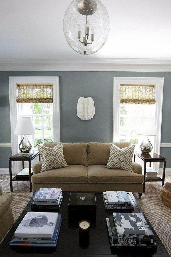 Wohnzimmer Farbideen Modern Wandgestaltung Möbel In Braun