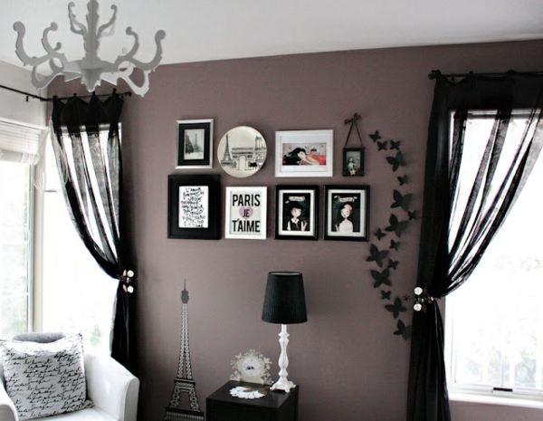 wohnzimmer lila grau:Gray Accent Wall Color with Purple