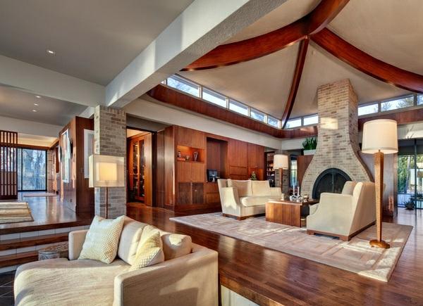 wohnzimmer designs ideen klassisch elegant holzeinrichtung kamin zimmerdecke