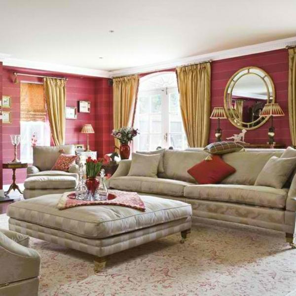 wohnzimmer gestalten wandfarbe kastanienbraun wandtapete streifenmuster